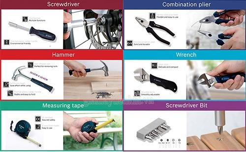 bộ dụng cụ đa năng 12 món có tác dụng khác nhau